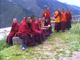 These Nyingma monks were curious, open and friendly to the first foreigners in Peiyul Lamasery, Sichuan.