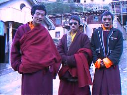 These monks returning to Chamdo in Tibet kindly consented to take my kathak (silk prayer scarf) to offer up in their monastery.  Dege, Sichuan.