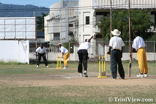 Action during the final game between National Centre for Persons with Disabilities (N.C.P.D.) Cricket team and the Happy Haven Special School Cricket team