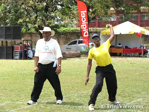 Member of the St Dominic's Home Cricket team participates in the Individual skills competition
