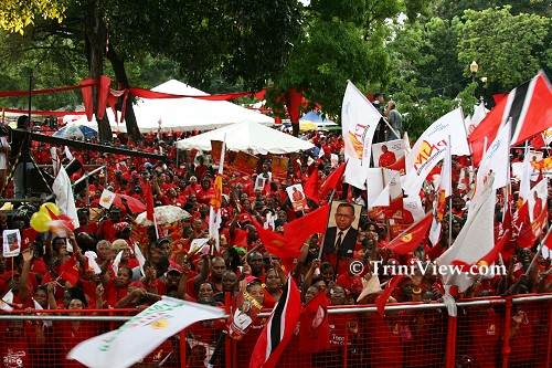 PNM supporters assemble at Woodford Square, Port of Spain