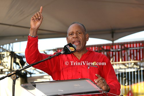 PNM Political Leader Patrick Manning addresses the audience at Woodford Square