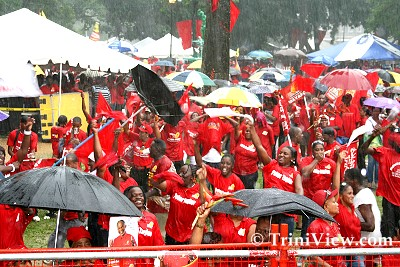 PNM Supporters braved the inclement weather for the PNM Presentation of Candidates at Woodford Square