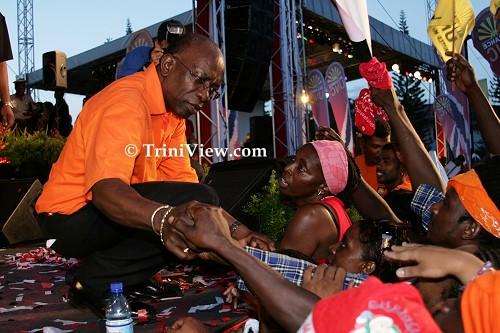 UNC Alliance leader Jack Warner gets close to the crowd