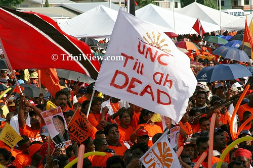 UNC supporters assemble at Mid Centre Mall in Chaguanas