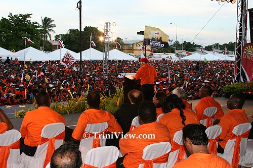 Basdeo Panday addresses the crowd at the UNC Rally