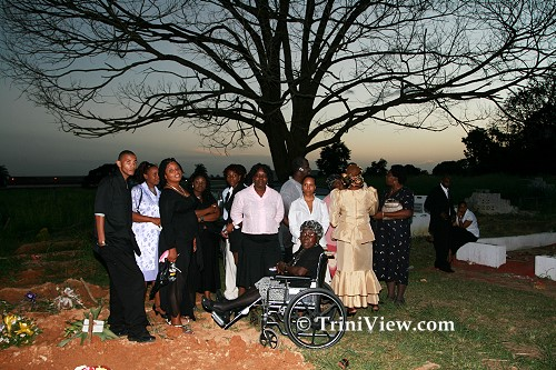 Family and friends at the grave of Carlene Jacobs-Hendrickson
