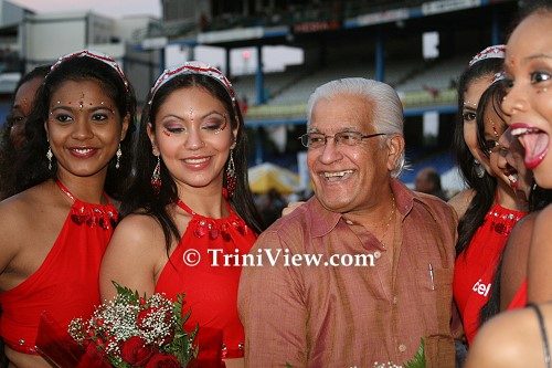 Former Prime Minister Basdeo Panday and Digicel models