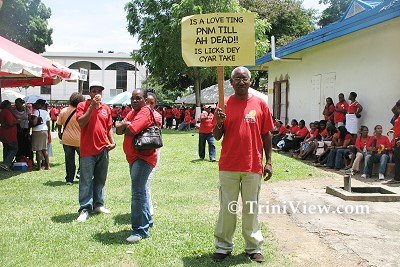 PNM supporters in Woodford Square in support of Patrick Manning