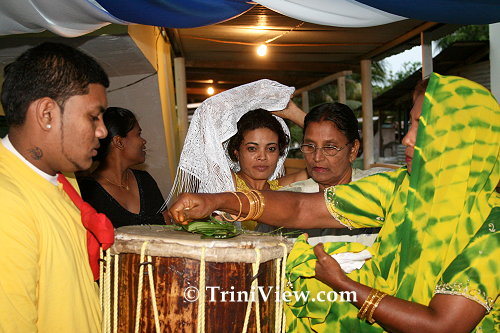 Purifying and blessing the tassa drums
