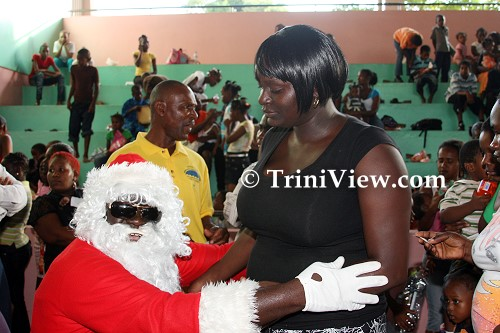 Santa Claus with one of the parents