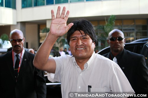 Bolivian President Evo Morales arrives for the opening ceremony of the Fifth Summit of the Americas - April 17, 2009
