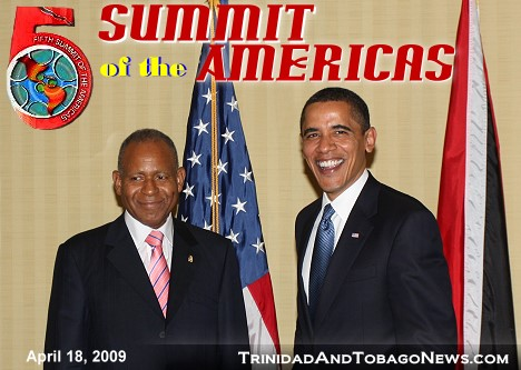 Prime Minister of Trinidad and Tobago Patrick Manning and the President of the United States Barack Obama