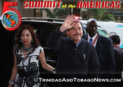 Nicaraguan President Daniel Ortega arrives for the opening ceremony of the Fifth Summit of the Americas - April 17, 2009