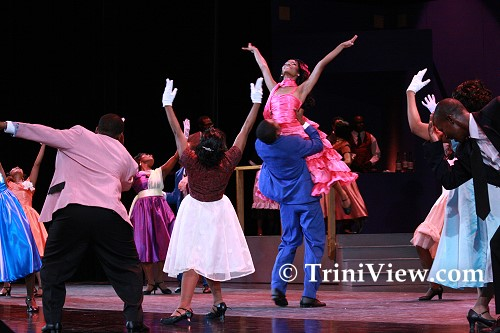 Dancing during a scene from the play 'Dance Me, Lover'