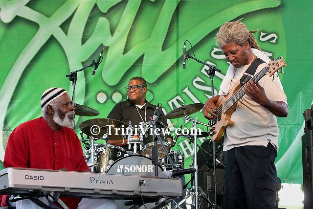 Carlton 'Zanda' Alexander on keys, Makesi Joseph on drums and Russel Durity on bass