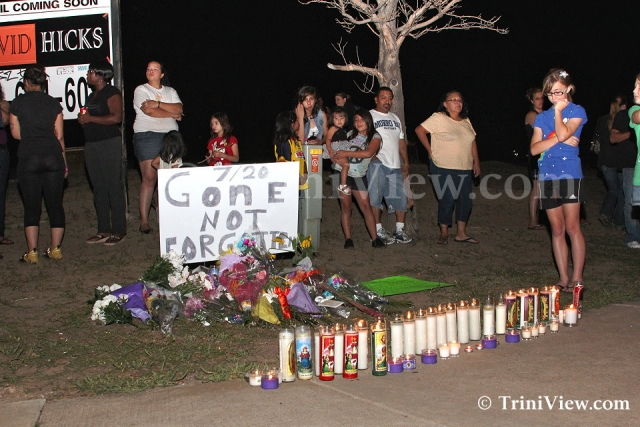 Makeshift memorial dedicated to the victims of the shooting spree
