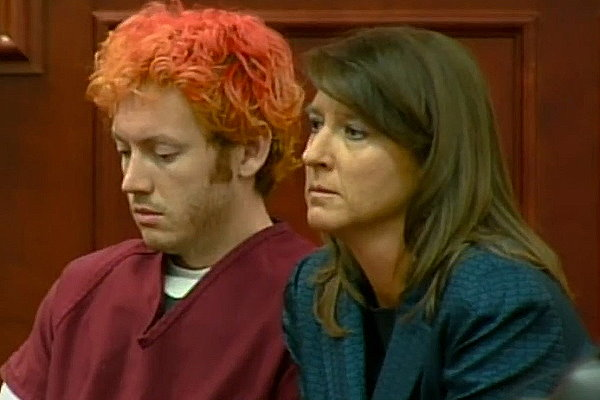 James Holmes in court with court appointed attorney Tamara Brady