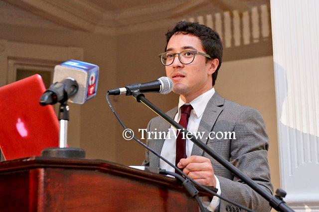 Jérémy Fabre, director of Alliance Française de Trinité-et-Tobago delivers a presentation of