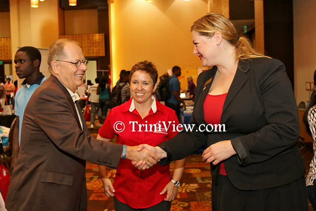 (L) High Commissioner for Canada to Trinidad and Tobago, His Excellency, Gerard Latulippe, Debra Boyce, Senior Trade Commissioner, Canadian High Commission and Jennifer Waldschutz, International Student Recruiter from the University of New Brunswick