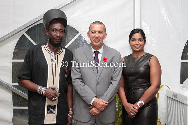Left: TUCO president Lutalo 'Brother Resistance' Masimba President Anthony Carmona and Mrs. Reema Carmona