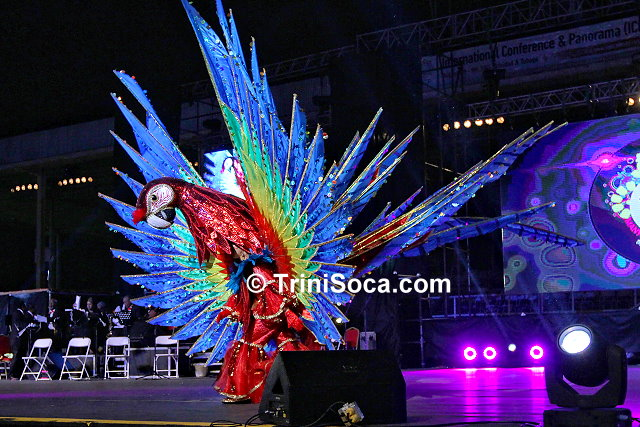 Junior Queen of Carnival 2015, Cyan Lue Sue portrays her winning costume, Scarlet Macaw - Treasure of Nariva