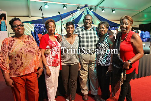 High Court Judge Malcolm Holdip and his wife (left) with friends at the Kaiso House Calypso Tent Judging Night