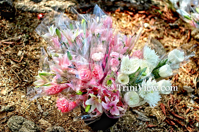 A bouquet of flowers laid in memory of Asami Nagakiya