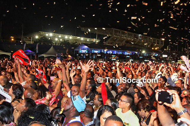 Thousands of patrons at the Hasely Crawford Stadium for the Machel Monday concert