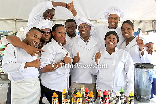 Third from left front: Head chef with the Executive Team, Acting Commissioner of Police, Stephen Williams