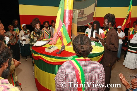 Rastafarians give praise to Jah in the tabernacle
