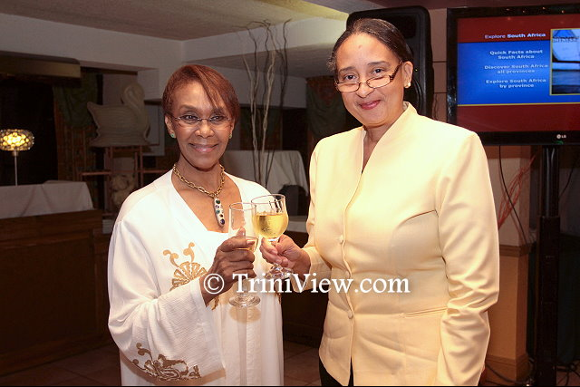 Her Excellency Maureen Modiselle, High Commissioner of South Africa to the Republic of Trinidad and Tobago shares a toast with Ms. Frances Seignoret, Deputy Permanent Secretary, Ministry of Foreign Affairs