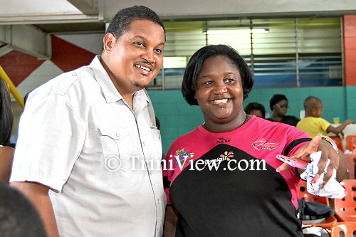 Sports Minister, Darryl Smith and Mahalia Duncan-Regis of  the Trinidad and Tobago Jump Rope Federation