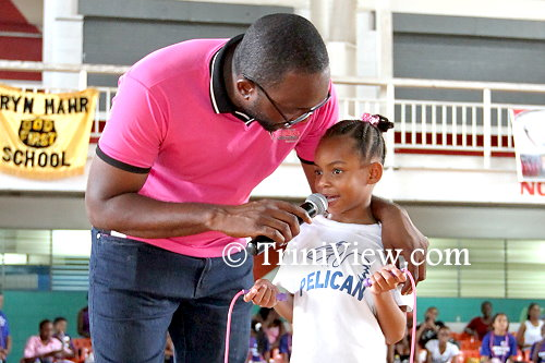 President of the Trinidad and Tobago Jump Rope Federation, Clint Charles and a student from Blackman's Private School