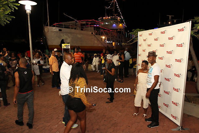 Patrons at the waterfront, Wrightson Road, Port of Spain before boarding the Coral Vision Boat