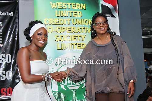 "(L) Moricia Cagan, 2014 winner of the TUCO/WESCU National Kaisoca Karaoke Competition"" at the TUCO National Kaisoca Karaoke Finals"