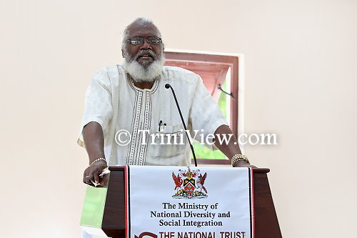 Professor Winston Suite, chairman at the National Trust of Trinidad and Tobago delivers the welcome address at the 'Tubal Uriah Butler: Nelson Island Experience' event