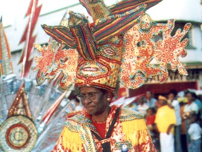 Masquerader in Mr. Griffith's headpiece