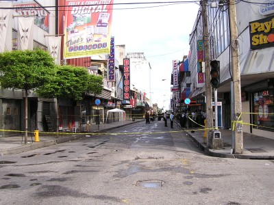 Area of the explosion on Frederick Street Port of Spain